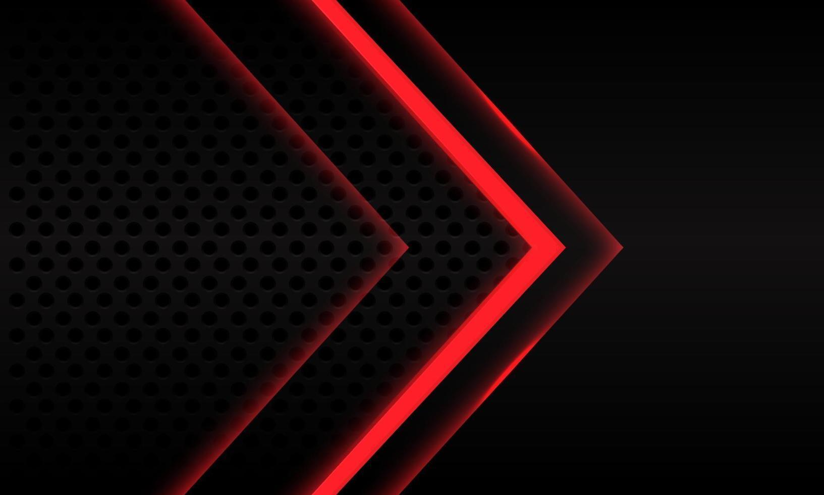 Dirección de la flecha de neón rojo abstracto en el diseño de patrón de malla de círculo metálico negro ilustración de vector de fondo futurista moderno.