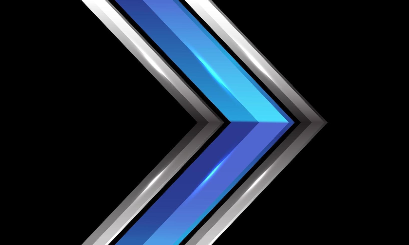 Dirección de flecha brillante de plata metálica azul abstracta en diseño negro ilustración de vector de fondo de tecnología futurista moderna.