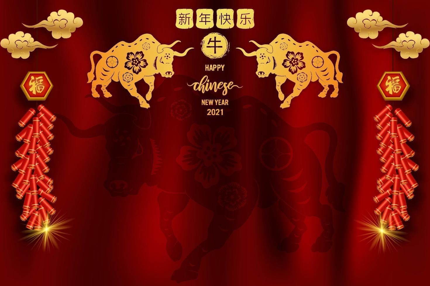 Happy Chinese new year 2021 template vector