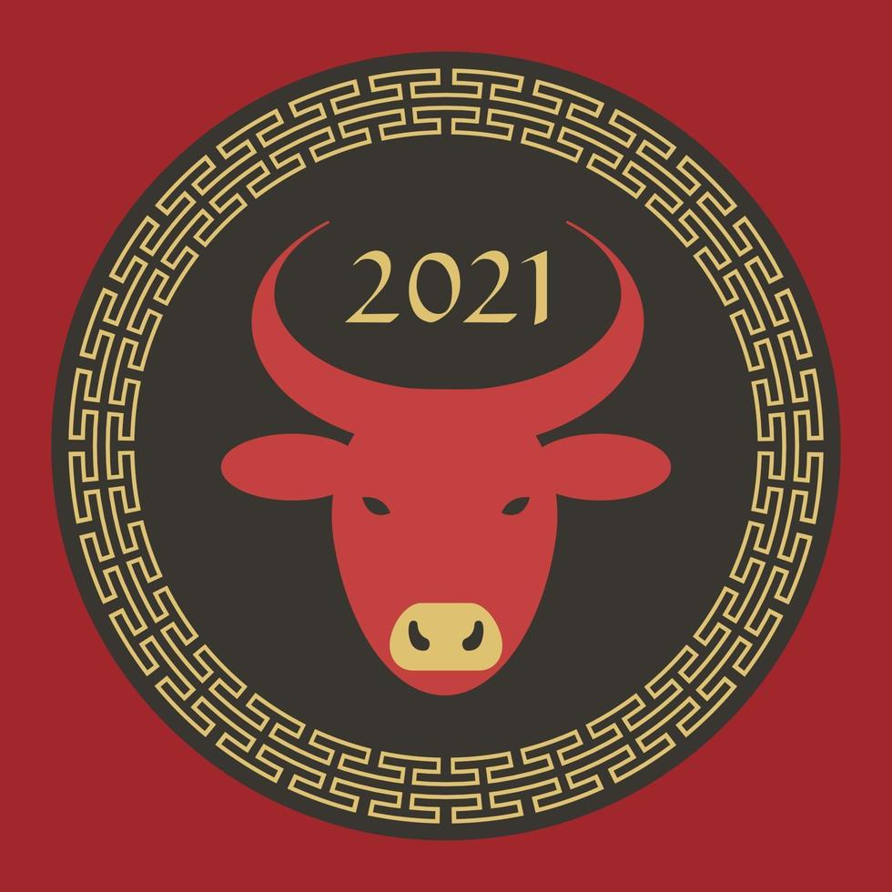 red black tan 2021 year of the ox chinese new year circle graphic vector
