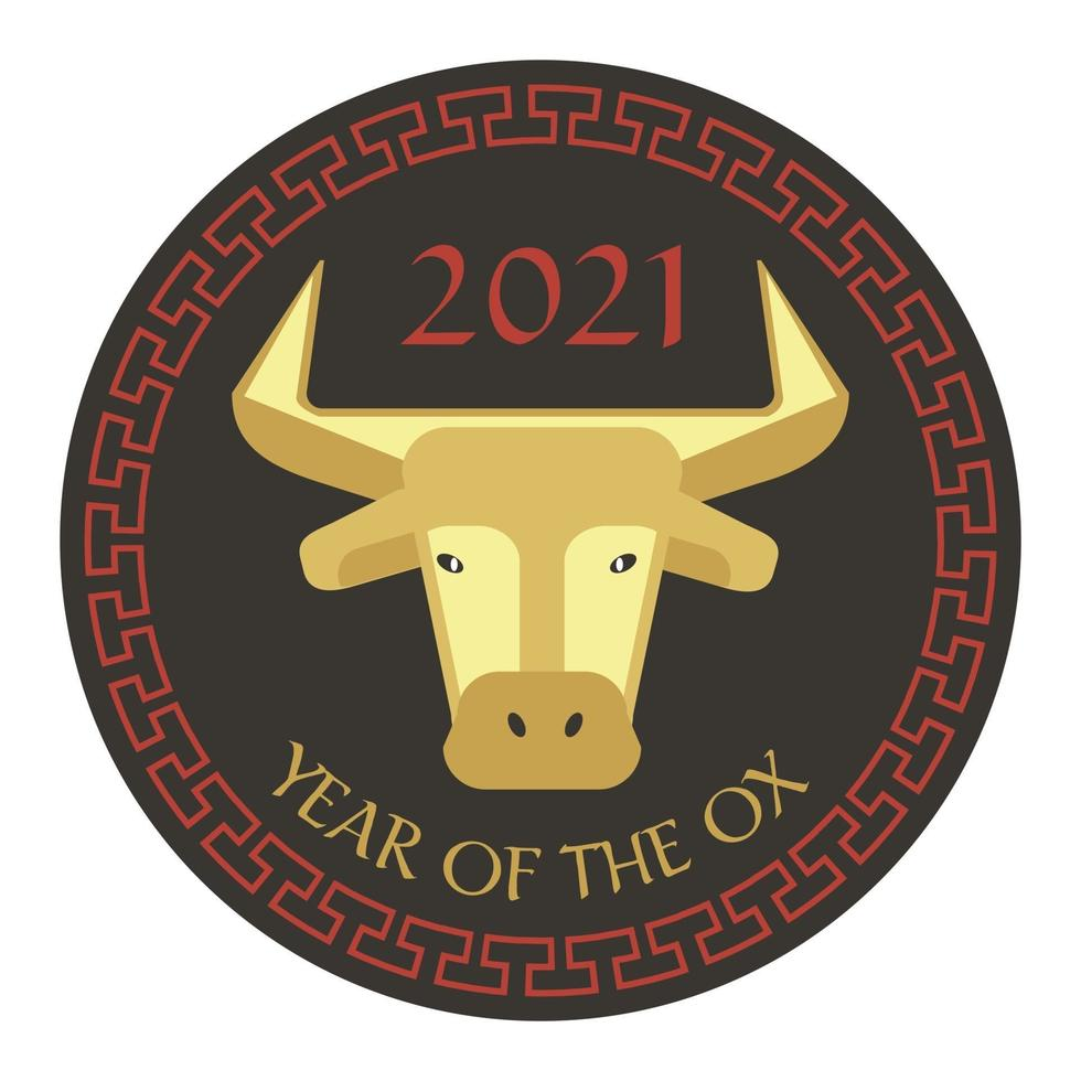 red black tan 2021 year of the ox chinese new year circle graphic with fretwork border vector
