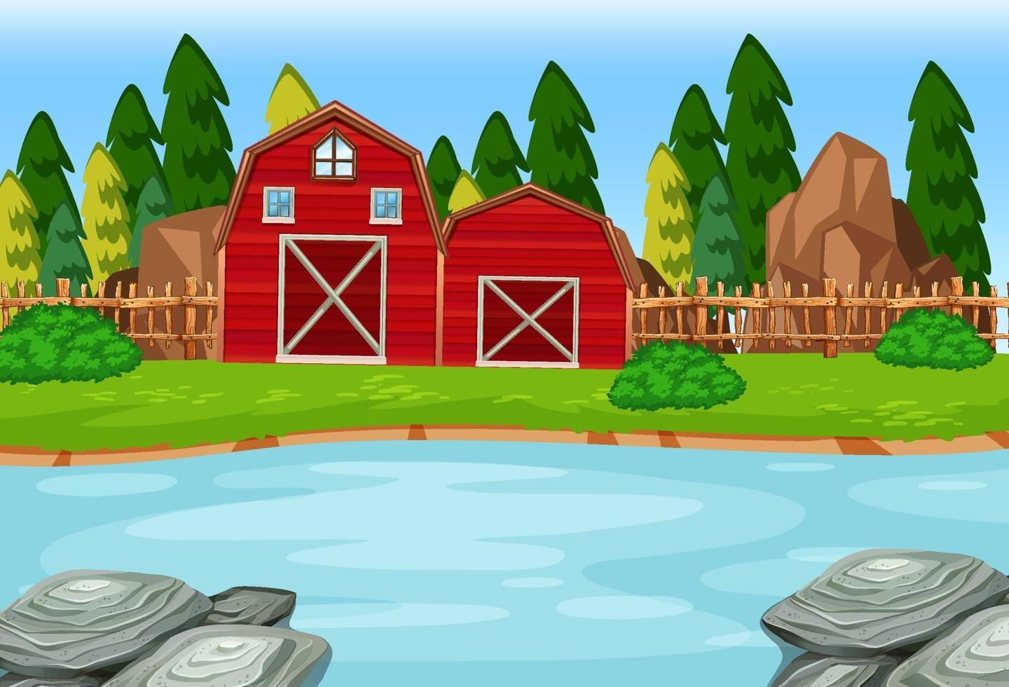 Two red barns in the nature scene vector