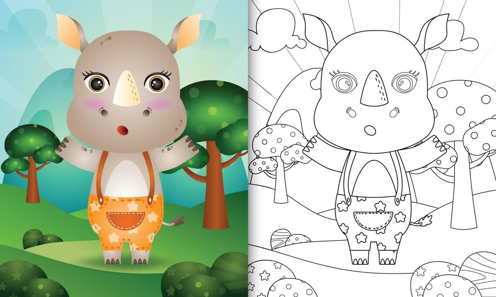 Plantilla de libro para colorear para niños con una linda ilustración de personaje de rinoceronte vector