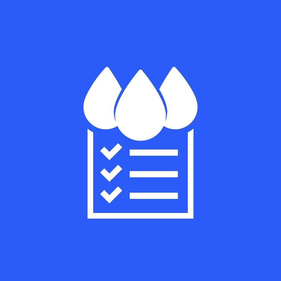 icono de control de calidad del agua en azul vector