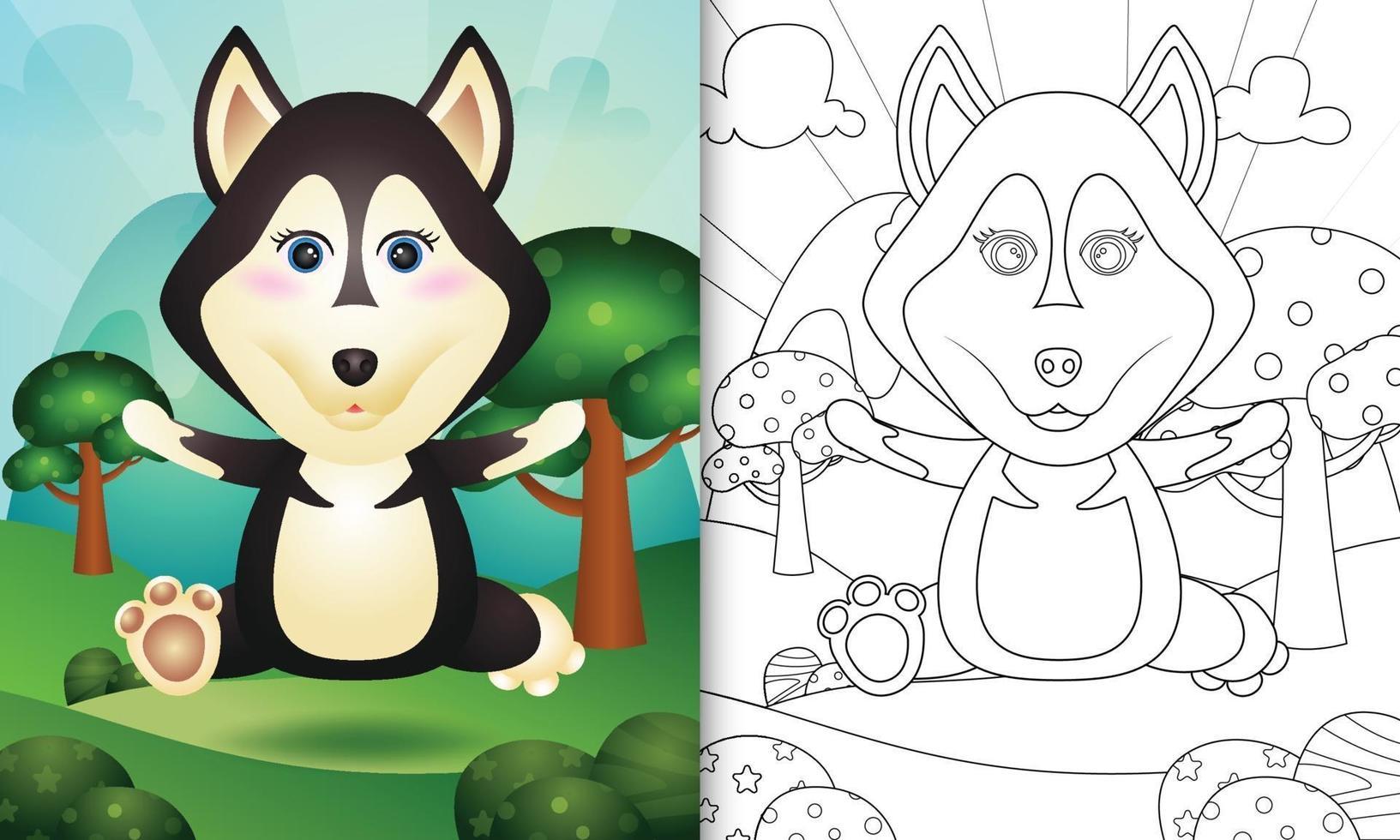 Plantilla de libro para colorear para niños con una linda ilustración de personaje de perro husky vector