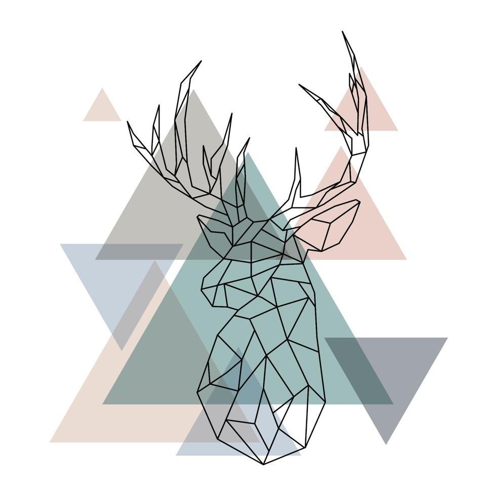 Ilustración geométrica del reno. vector