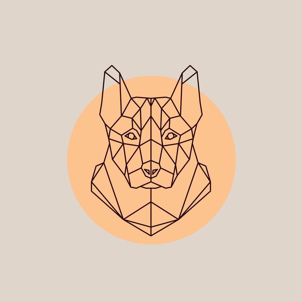 Dog shepherd head in polygonal style. vector
