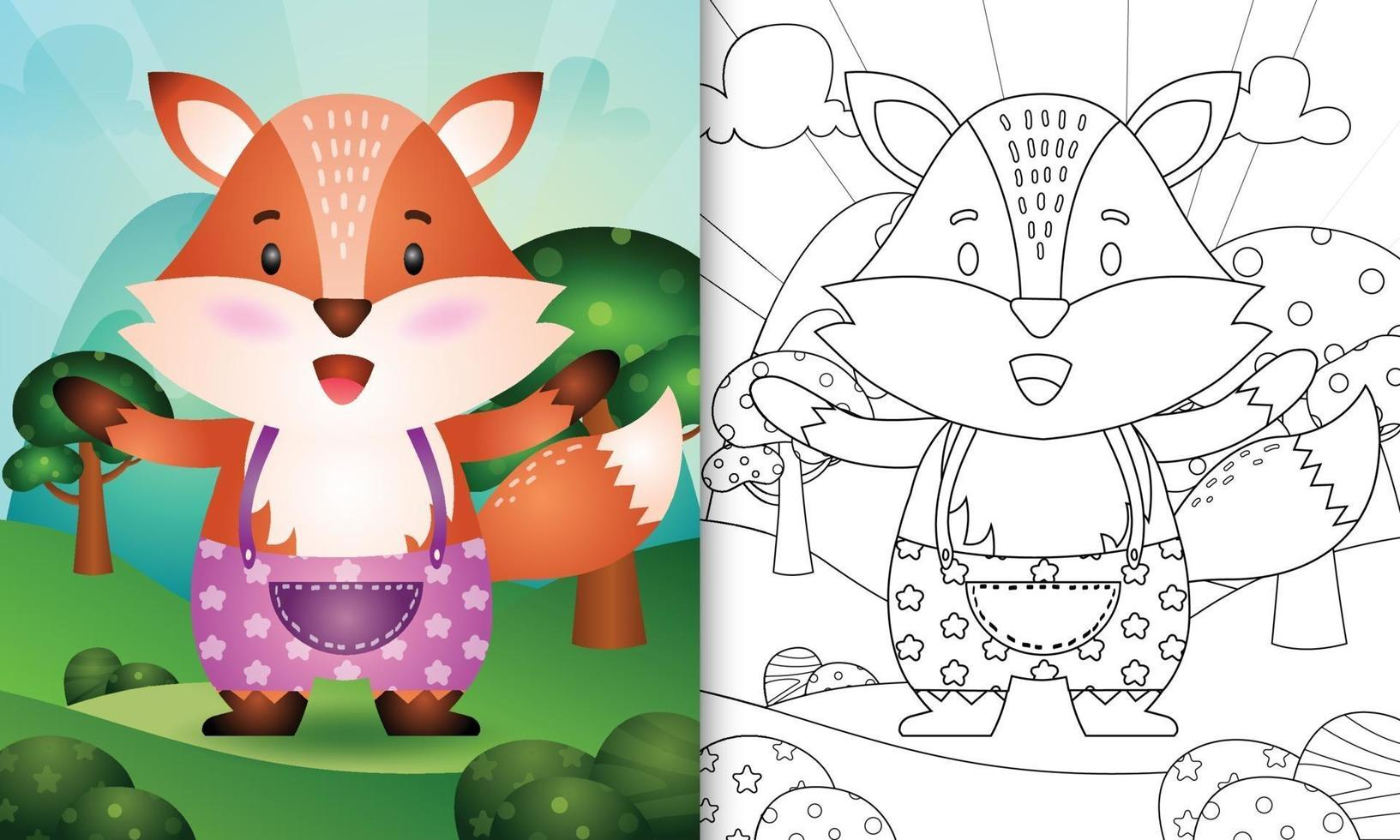 Coloring Book Template For Kids With A Cute Fox Character Illustration Download Free Vectors Clipart Graphics Vector Art