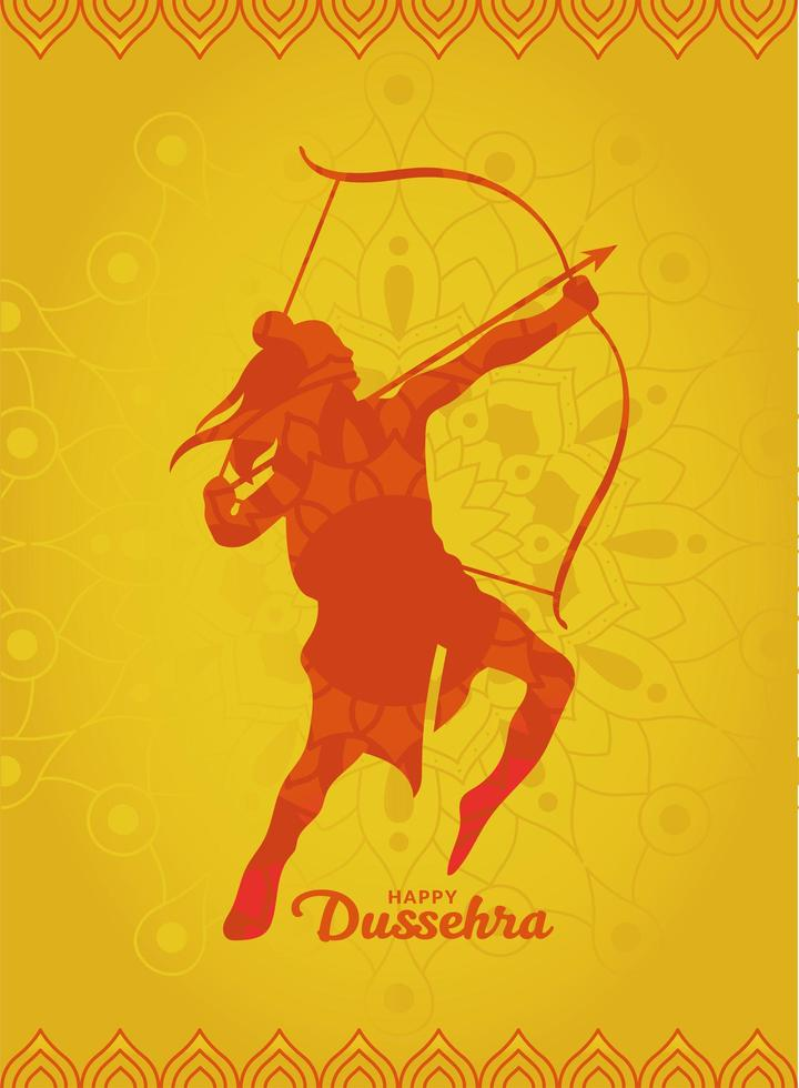 Happy dussehra and lord ram with bow and arrow orange silhouette vector design