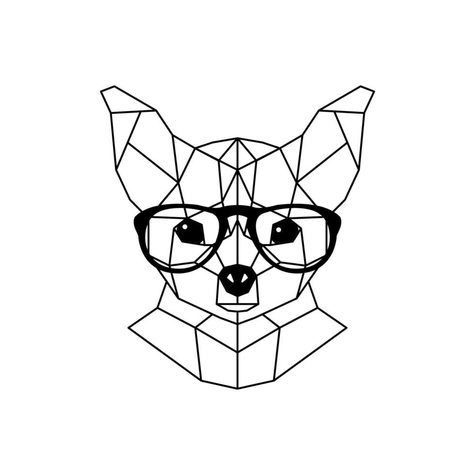 perro chihuahua con gafas y una pajarita. estilo geométrico. vector