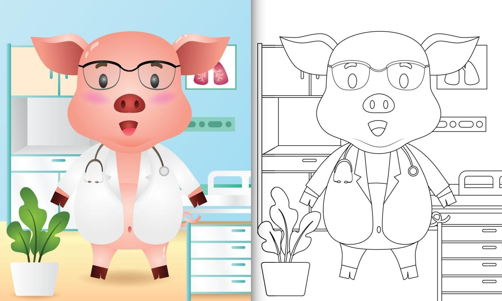 coloring book for kids with a cute pig doctor character illustration vector