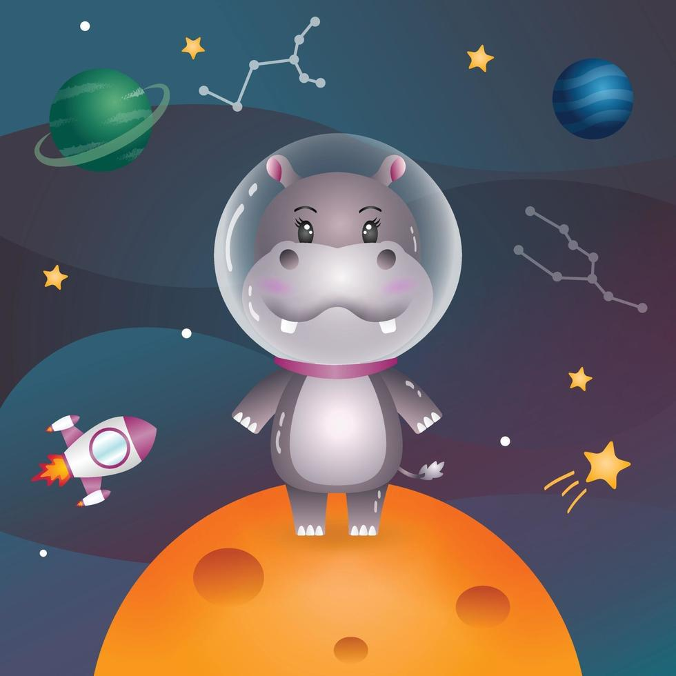 Cute hippo in the space galaxy vector