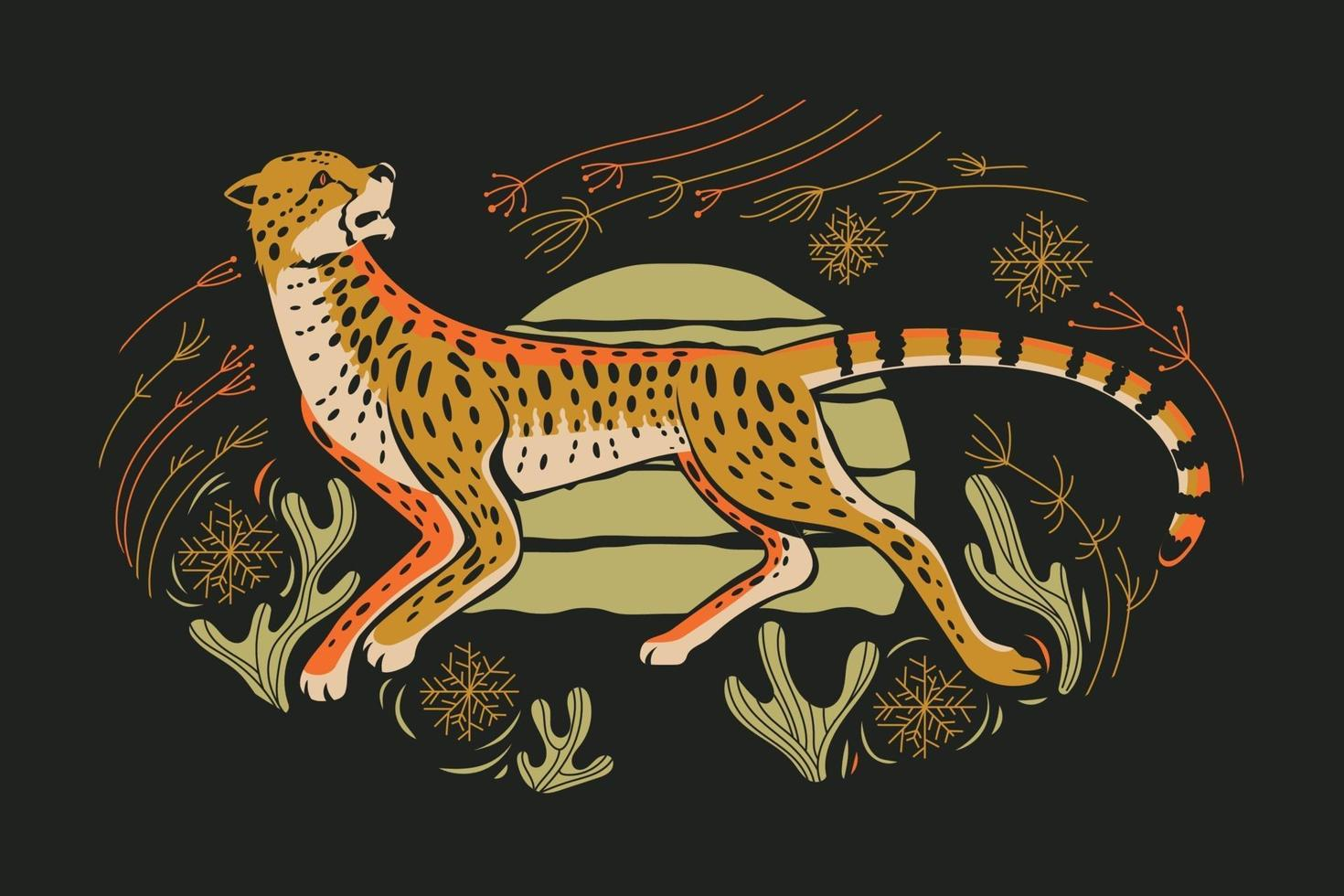 Adorable cheetah hunt with spinifex grass and cactus vector