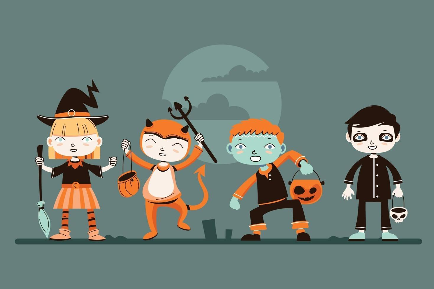Set of Cute Halloween Kid Character with Costume vector