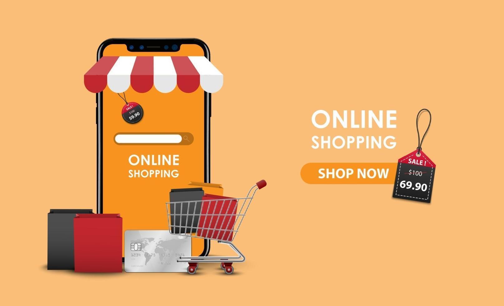 Online shopping concept, smartphone online store, vector illustration  1990015 Vector Art at Vecteezy