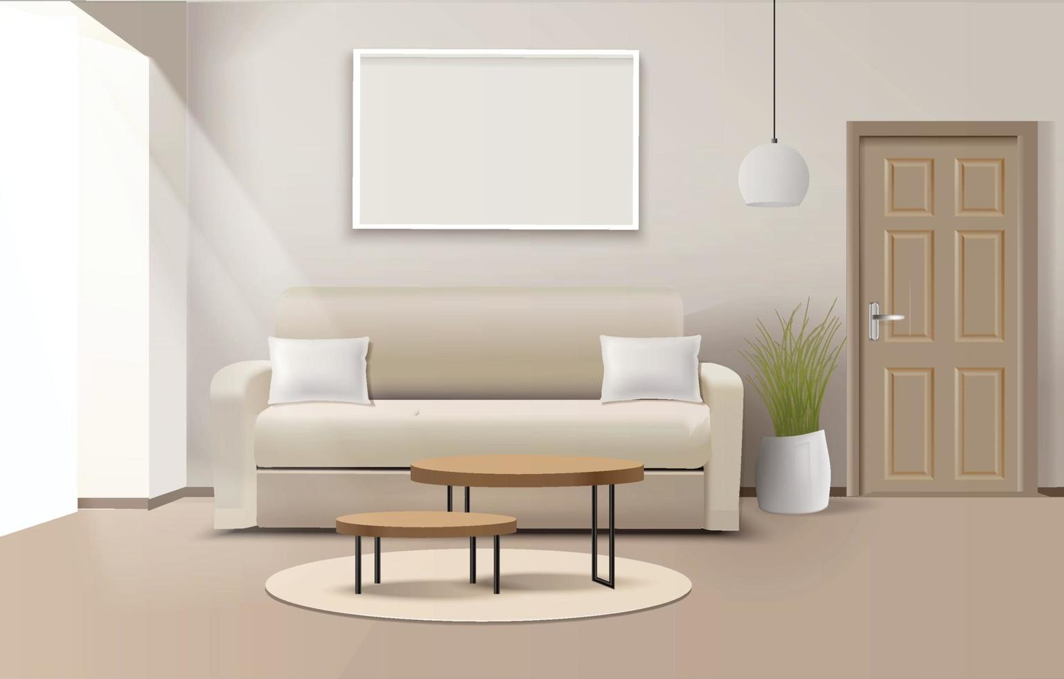 Modern living room interior with furniture vector