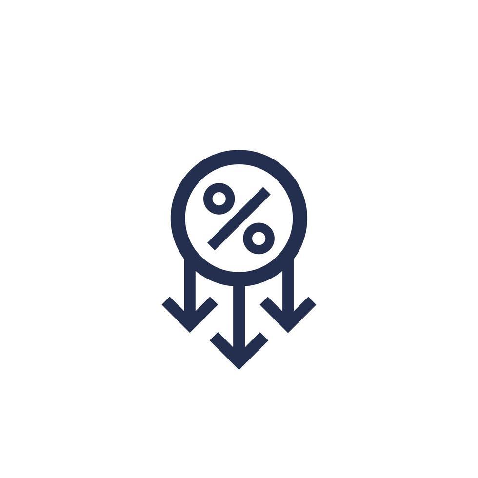 disminución de ganancias, porcentaje de disminución del icono vector
