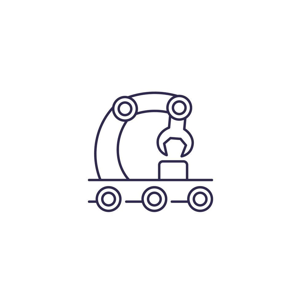 Transportador, icono de vector de línea de montaje