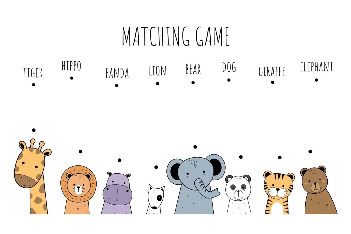 Cute animals colorful cartoon doodle style matching game for kids vector