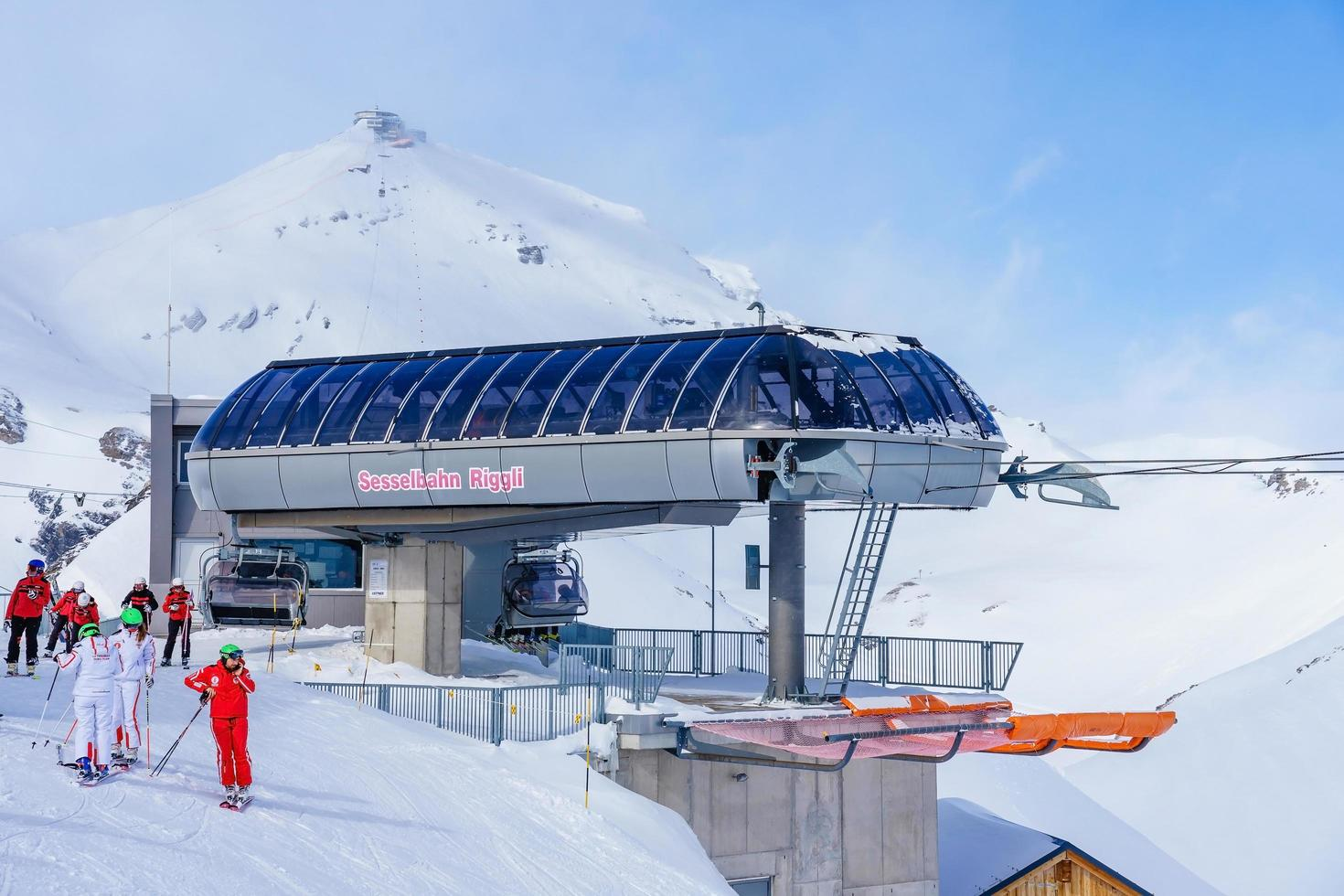 Skiers in the Swiss alps in Murren, Switzerland photo