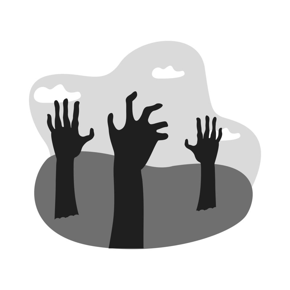 zombie dead hands reaching out of ground icon vector
