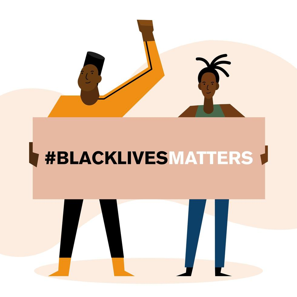 Black lives matter banner with man and woman vector