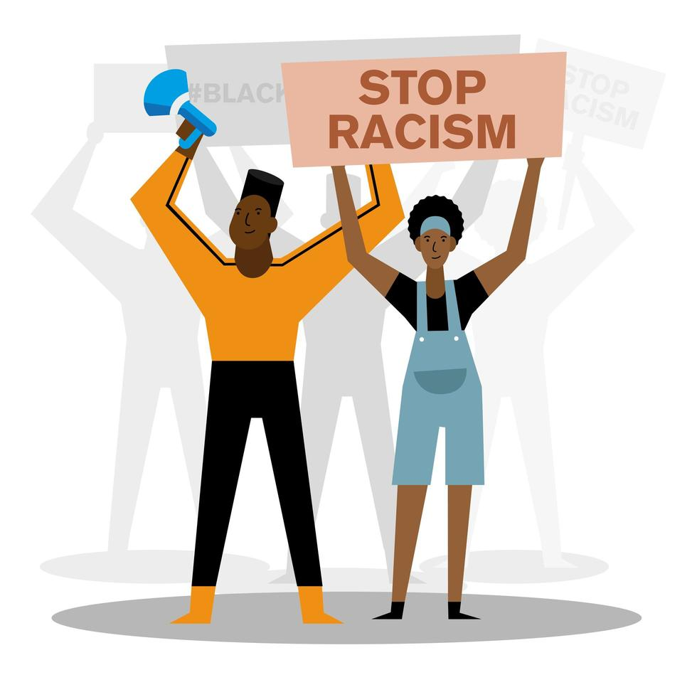 stop racism black lives matter banner with megaphone, woman, and man vector design