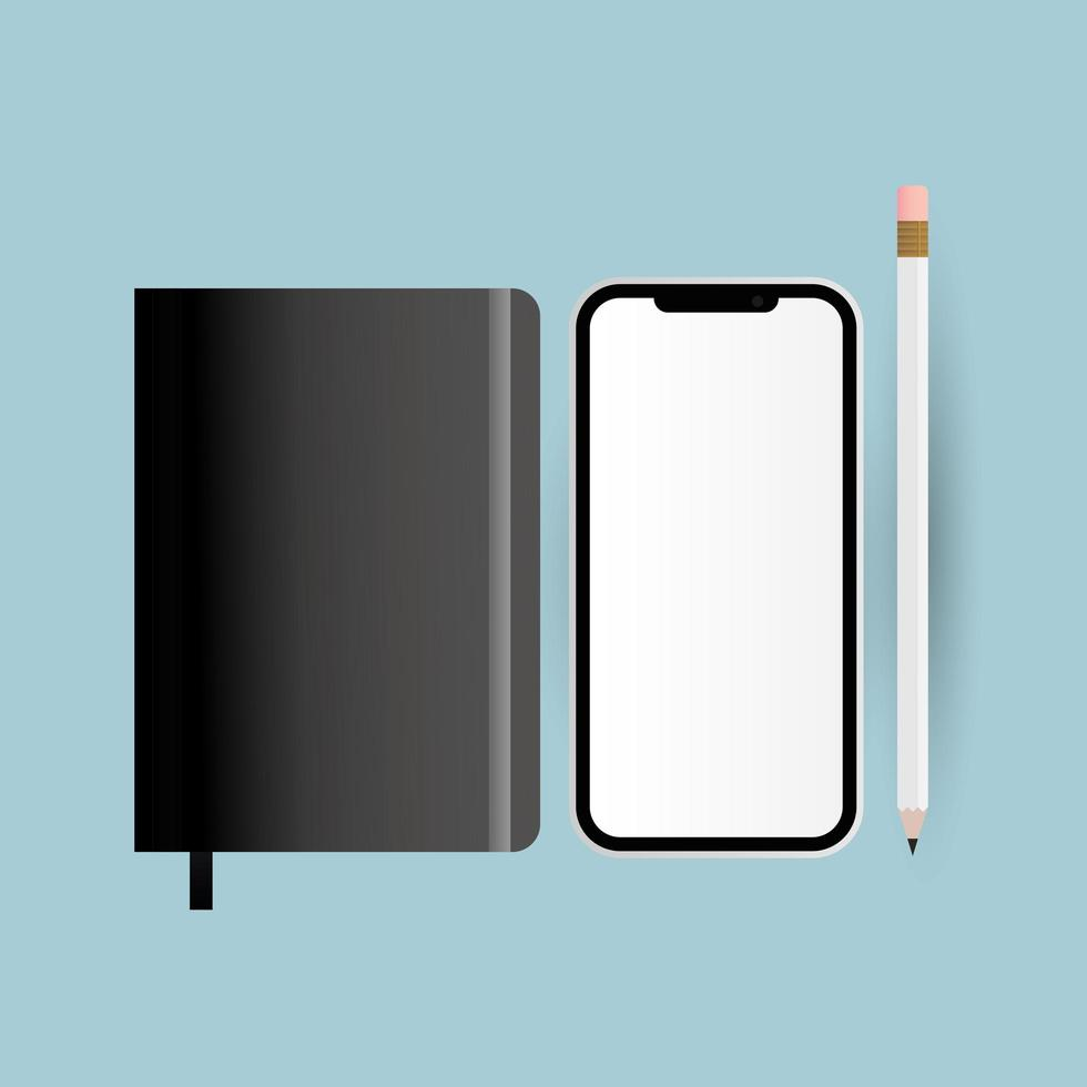 Smartphone, pencil and notebook mockup vector