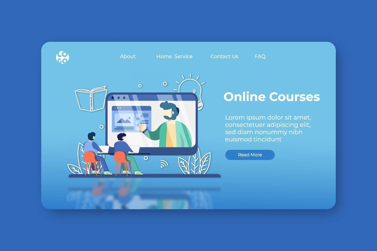 Modern Flat Design Vector Illustration. Online Courses Landing Page and Web Banner Design Template. Training Online, Webinar, Online Teaching, Online Education, Learn Anywhere, Digital Education
