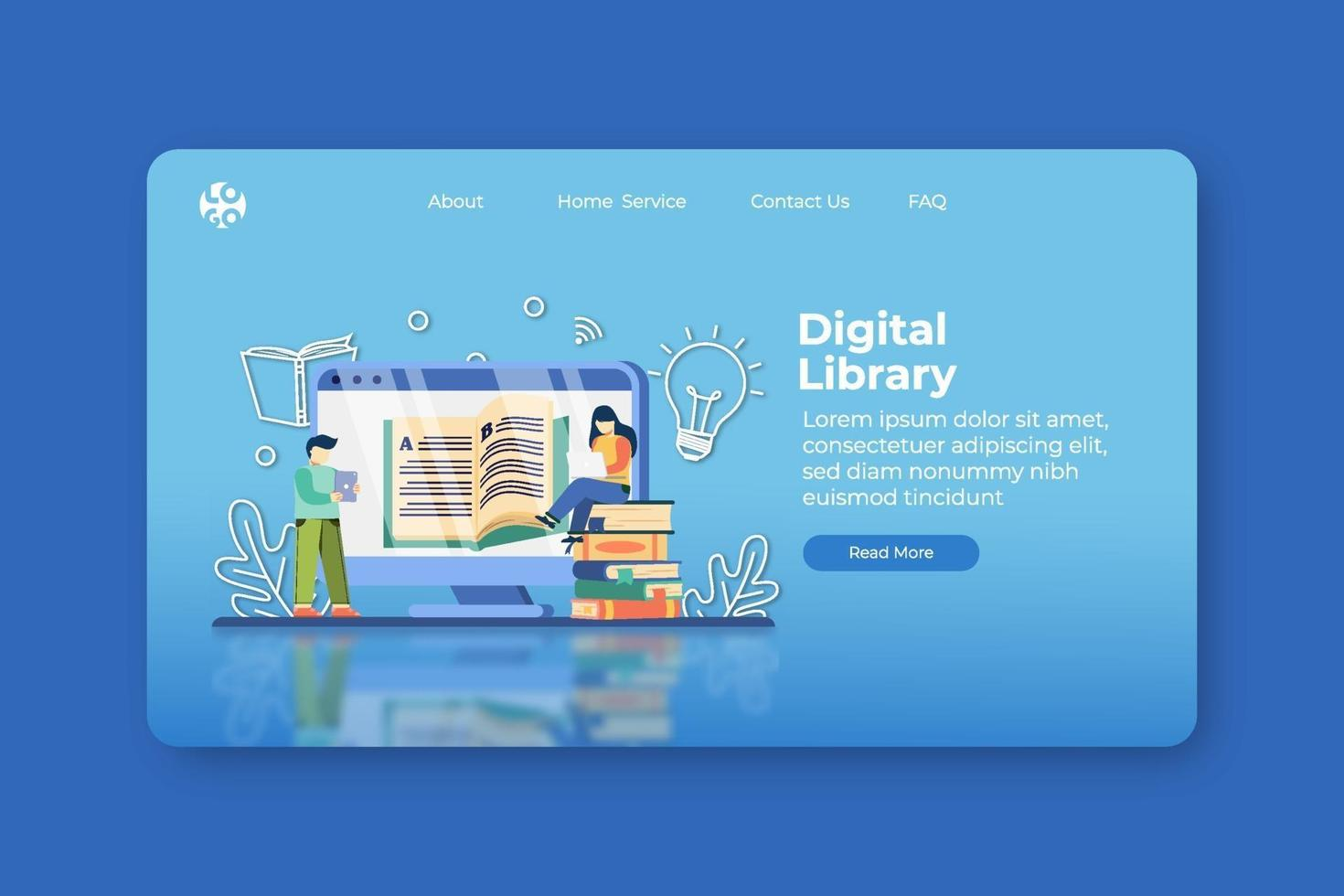 Modern Flat Design Vector Illustration. Digital Library Landing Page and Web Banner Template. E-Book, Encyclopedia, Study Literature, Learn anywhere, Distance Education, Book is Knowledge