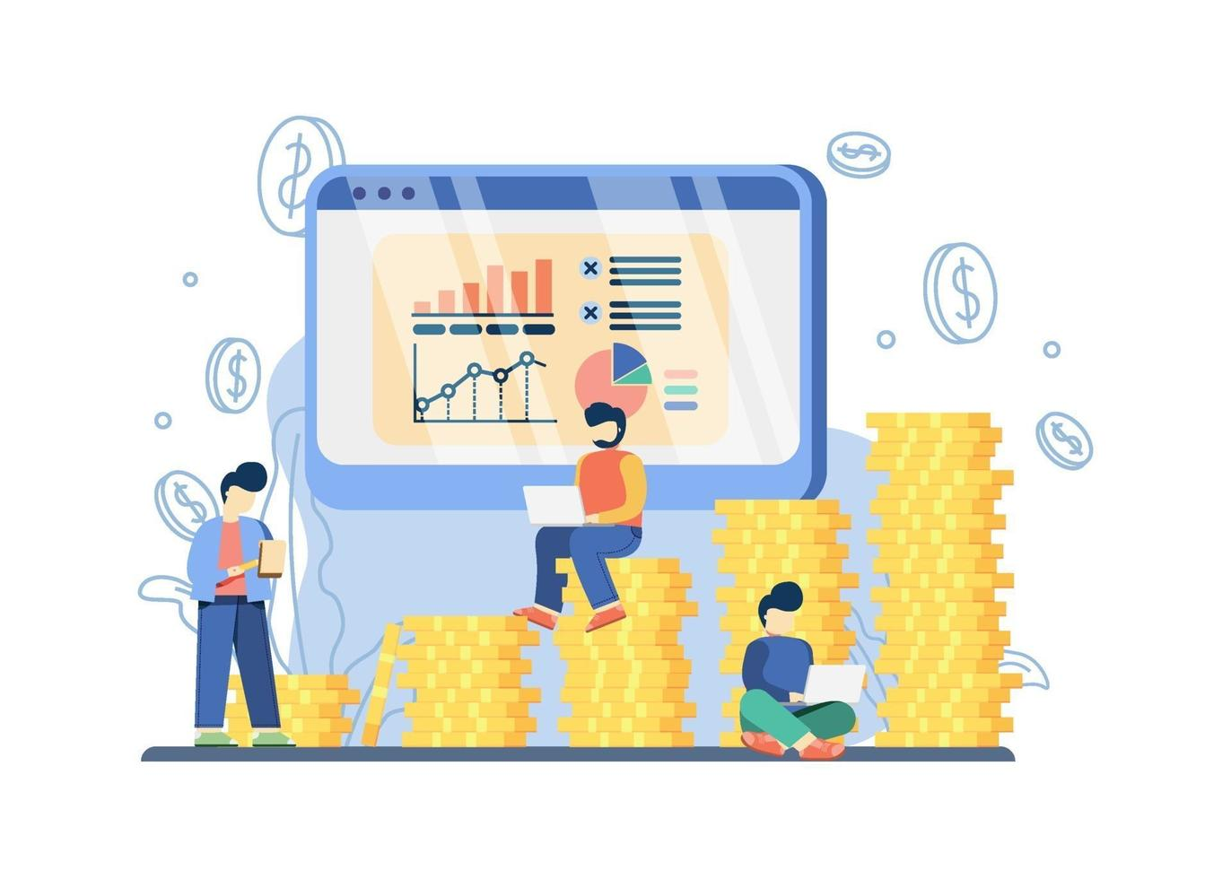 Sales Forcasting Concept. sales progress chart on monitor display and Growth Graph With Stacks Of Coins. flash sale, special offer, e-commerce shop promotion, Online shopping abstract metaphor. vector