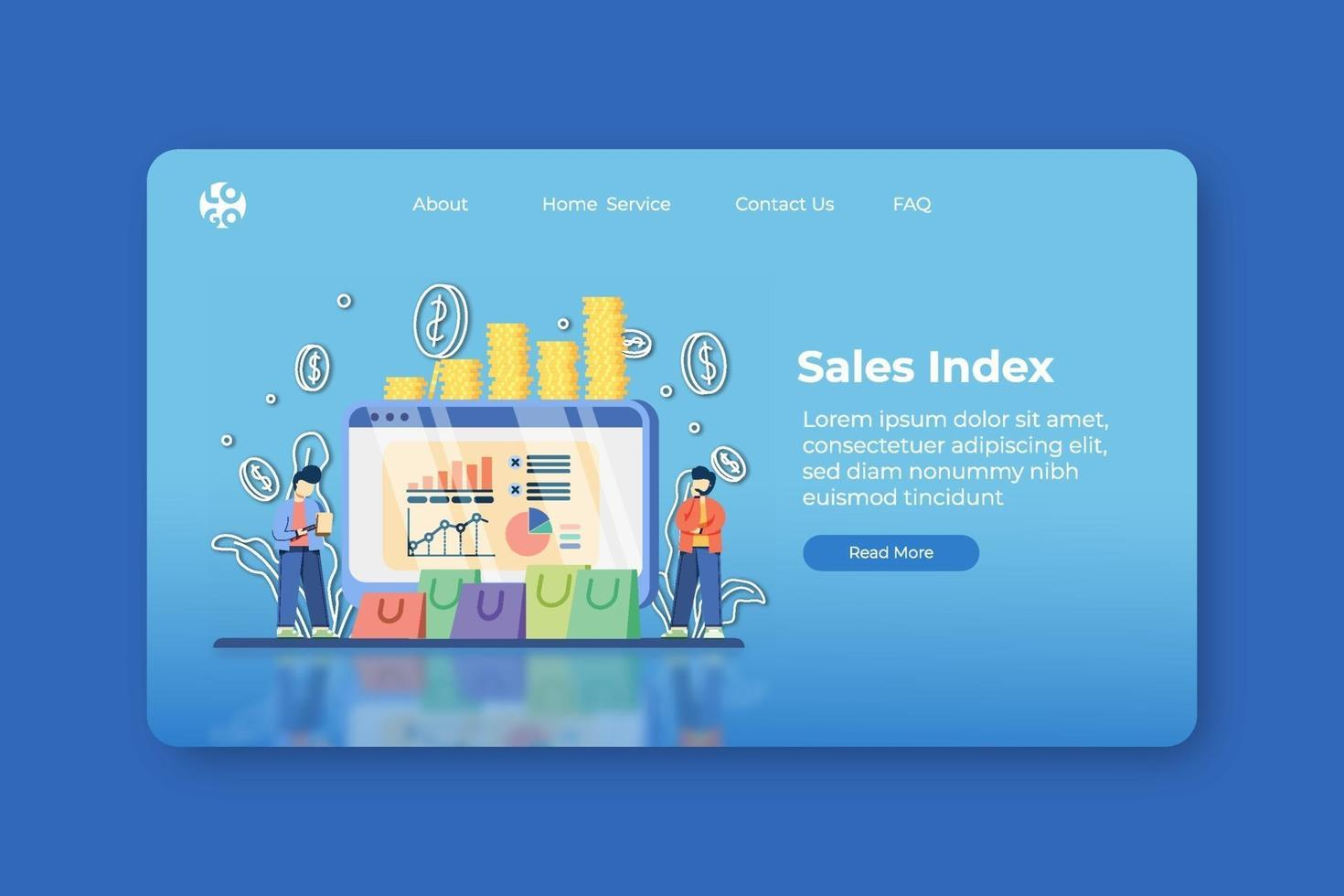 Modern flat design vector illustration. Sales Index Landing Page and Web Banner Template. Sales Progress, stocks statistic and business trends forecast, Sales Chart, SEO Analysis, Demand Planning.