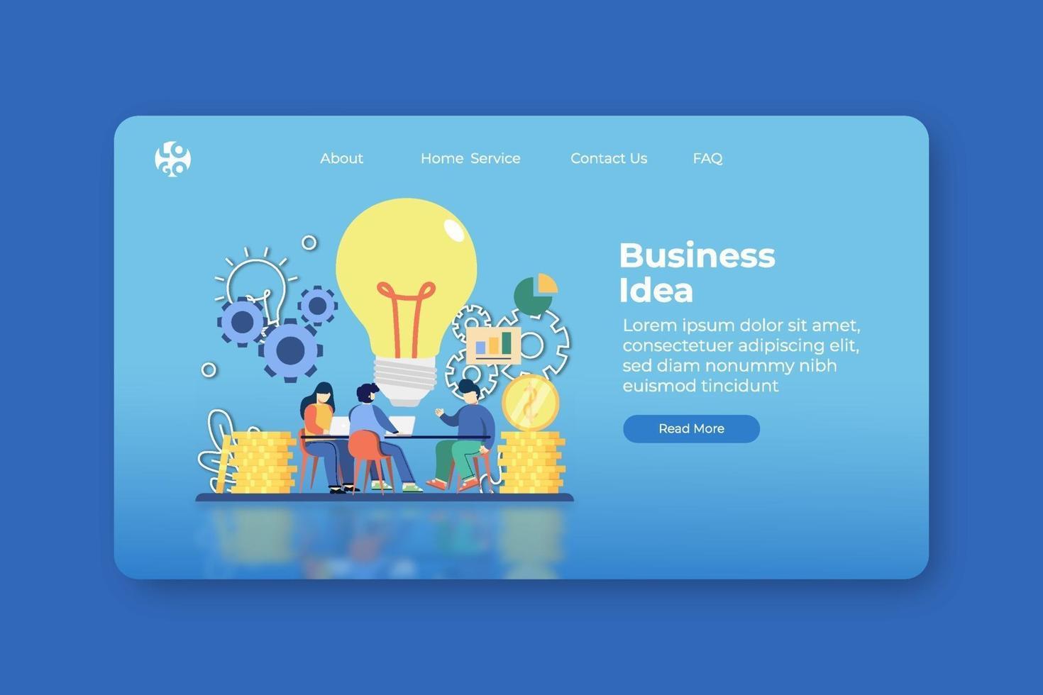 Modern flat design vector illustration. Business Idea Landing Page and Web Banner Template. Innovative, Creative Idea, New Ideas Solution, Problem Solving, Business Solution, Brainstorming, Teamwork.