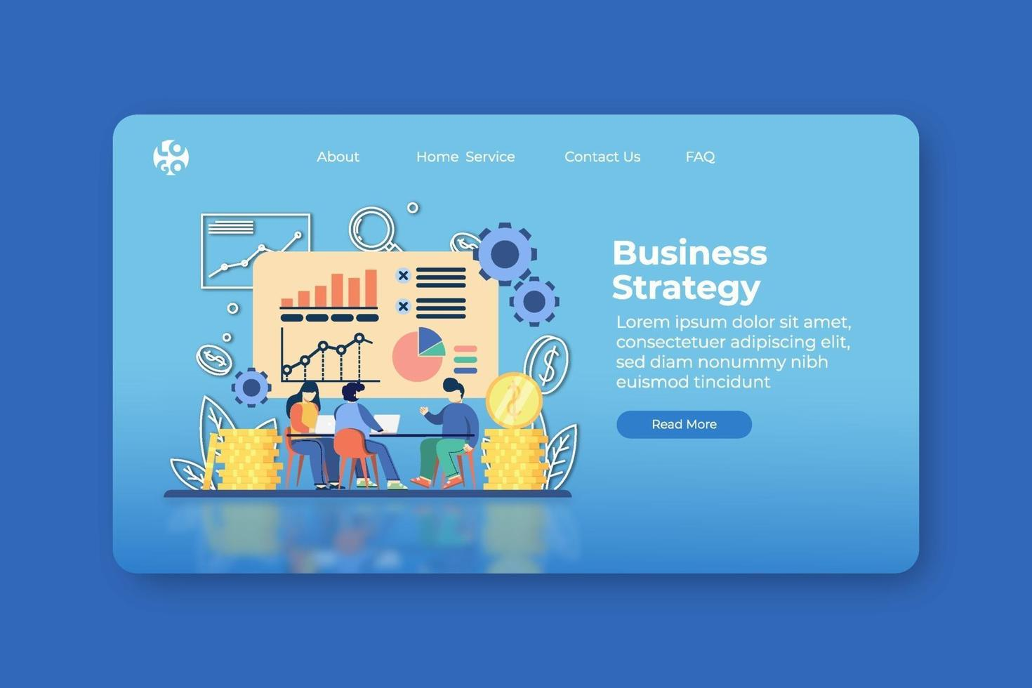 Modern flat design vector illustration. Business Strategy Landing Page and Web Banner Template. Business Analysis, Marketing Strategy, Business Goal.