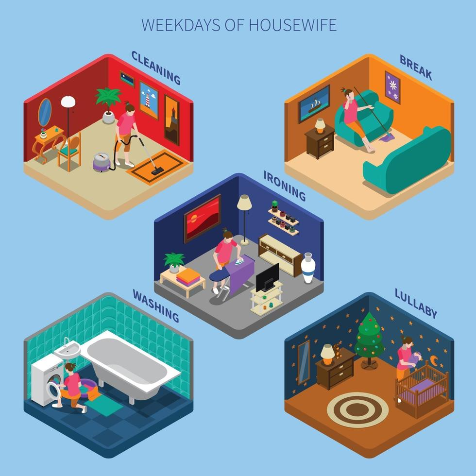housewife isometric people composition vector
