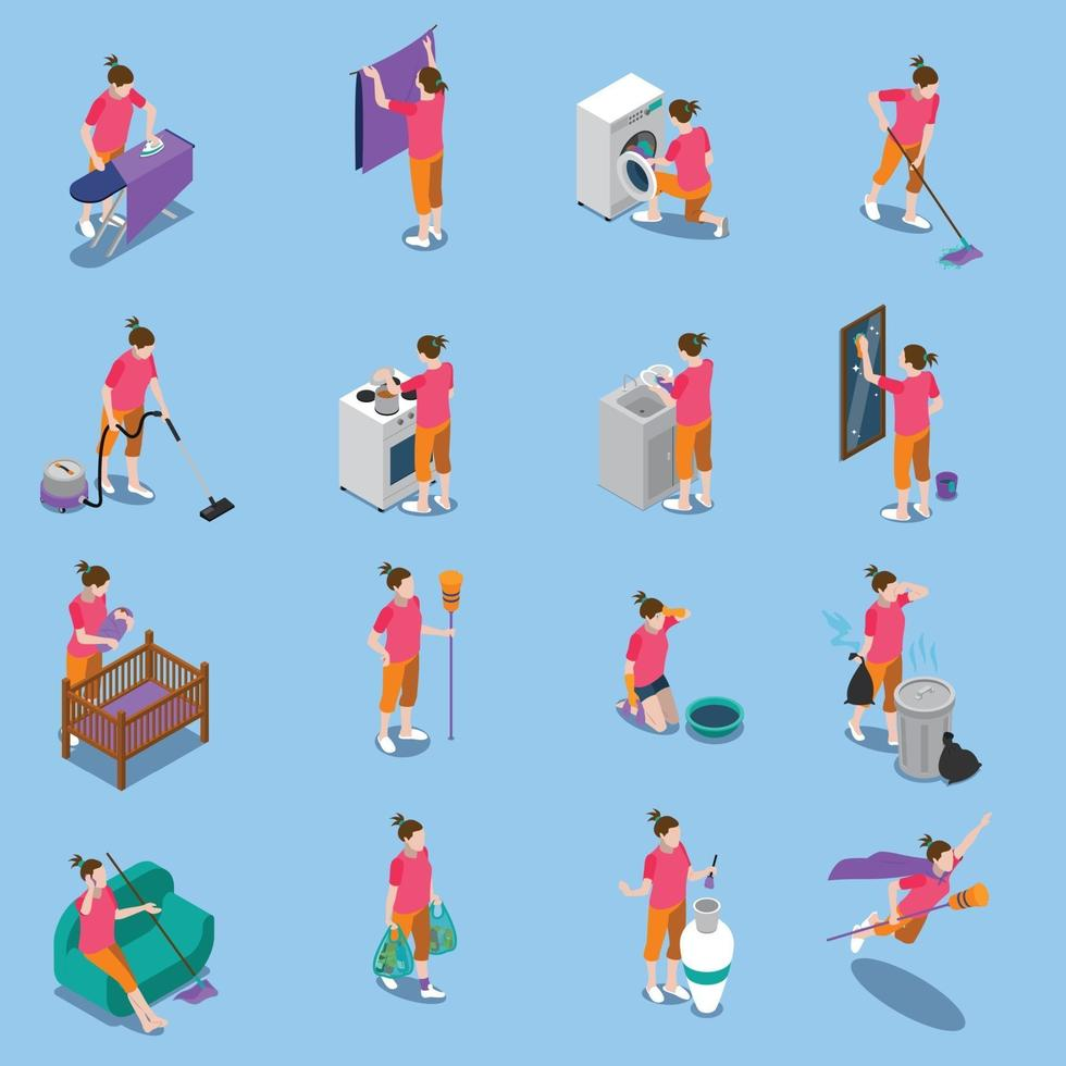 housewife isometric people icons vector
