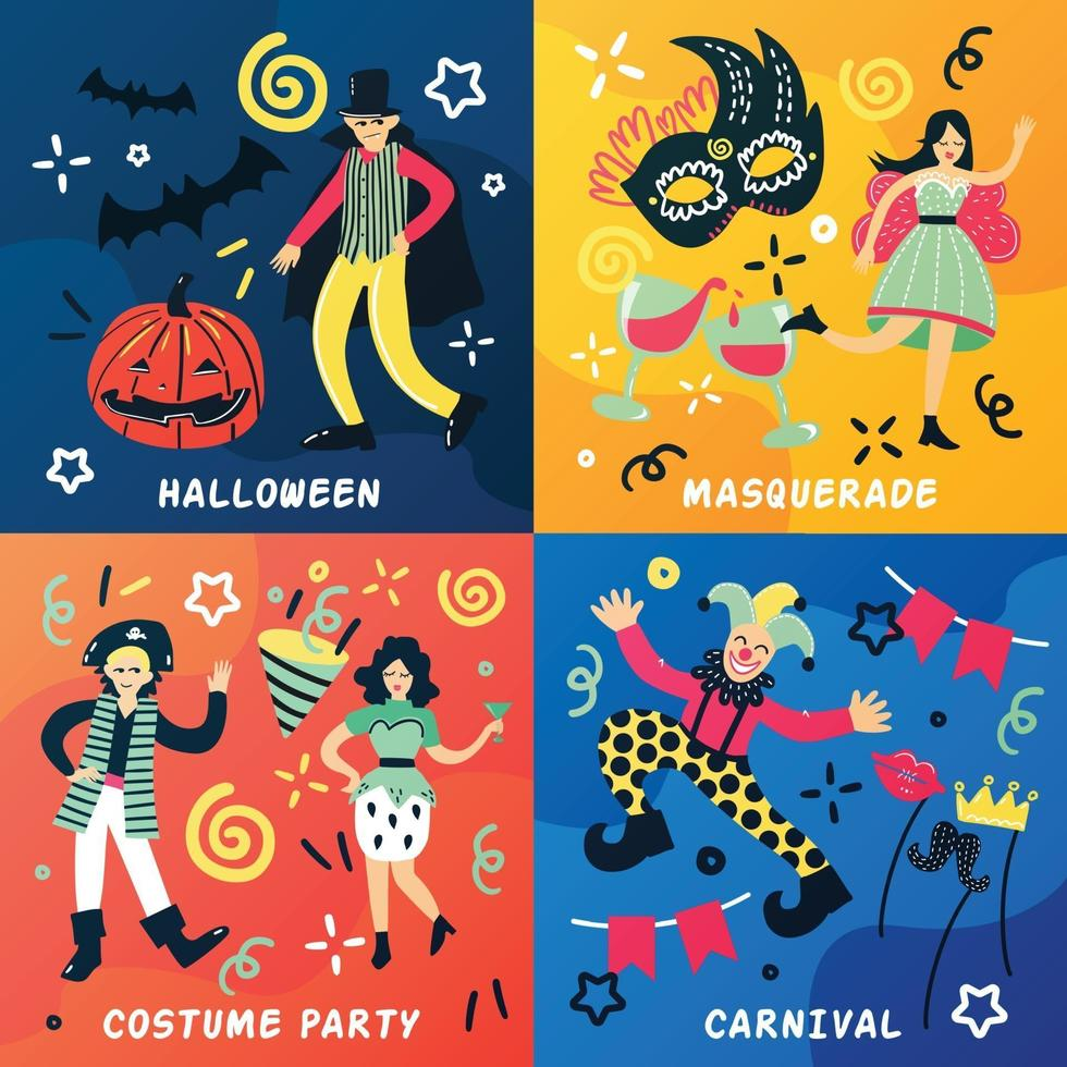 costume party doodle 2x2 vector