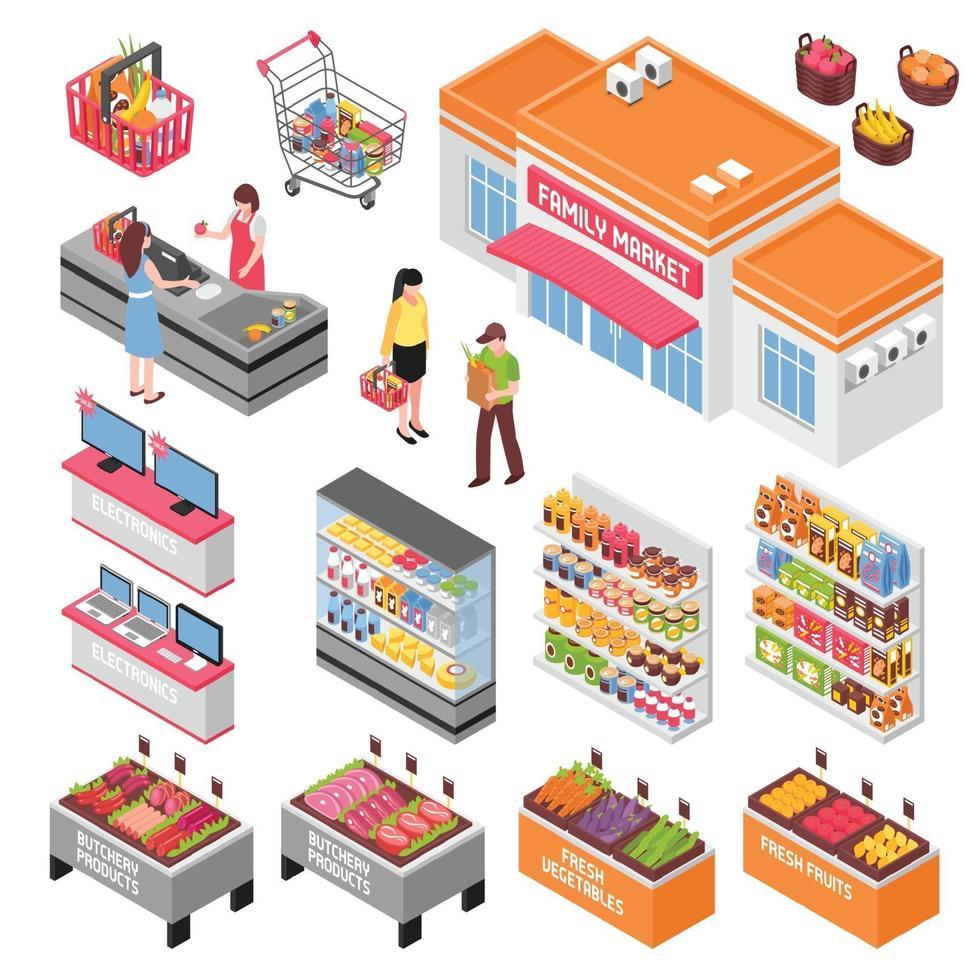 isometric supermarket set vector