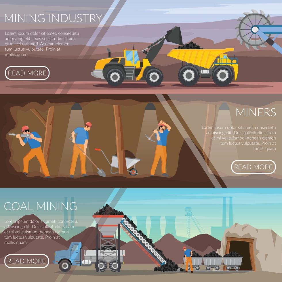 miner mining flat banners vector