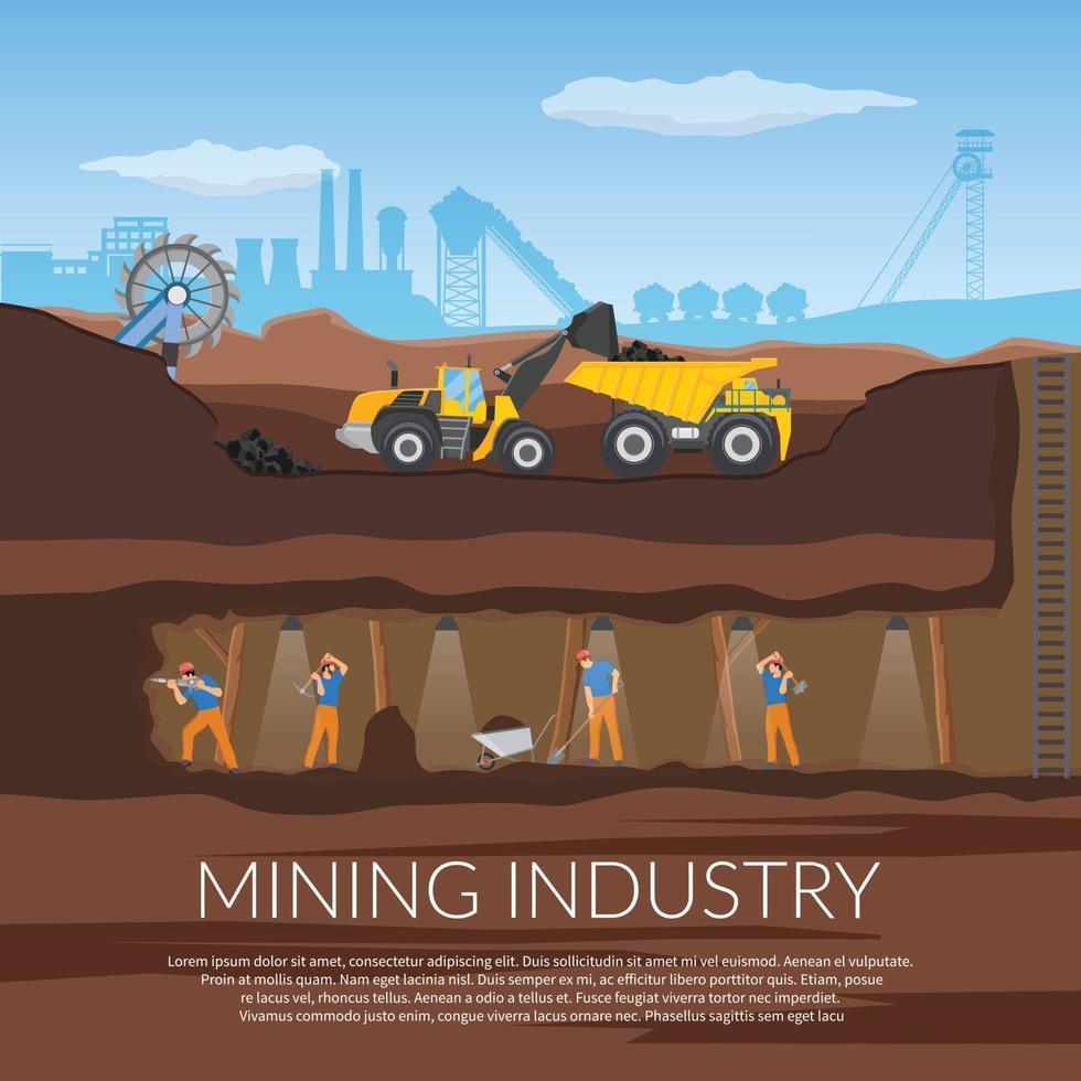 miner mining flat composition vector
