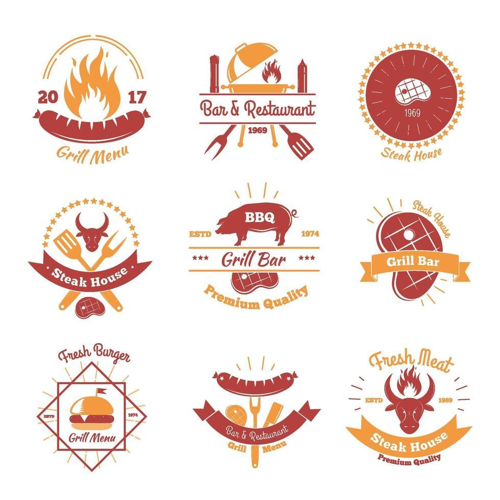 steakhouse vintage emblems color vector