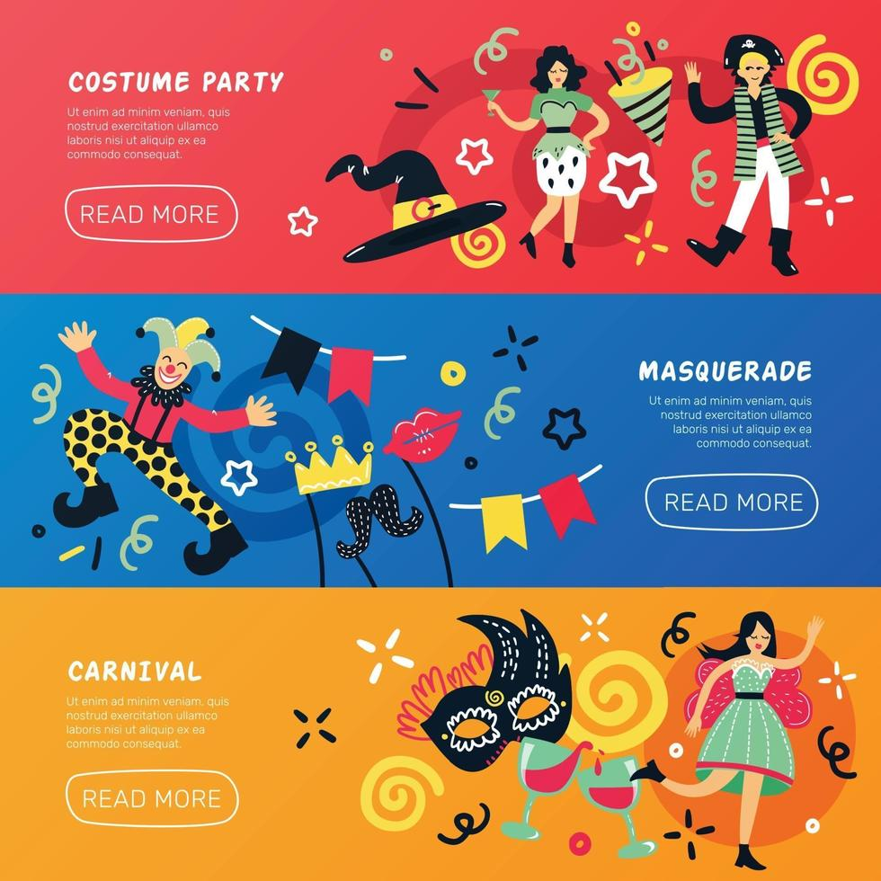 costume party doodle banners vector