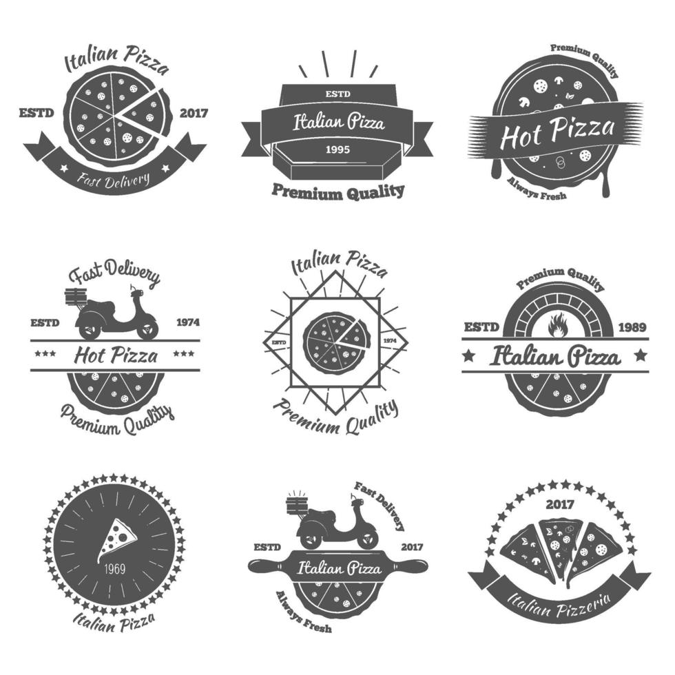 pizza vintage emblems vector