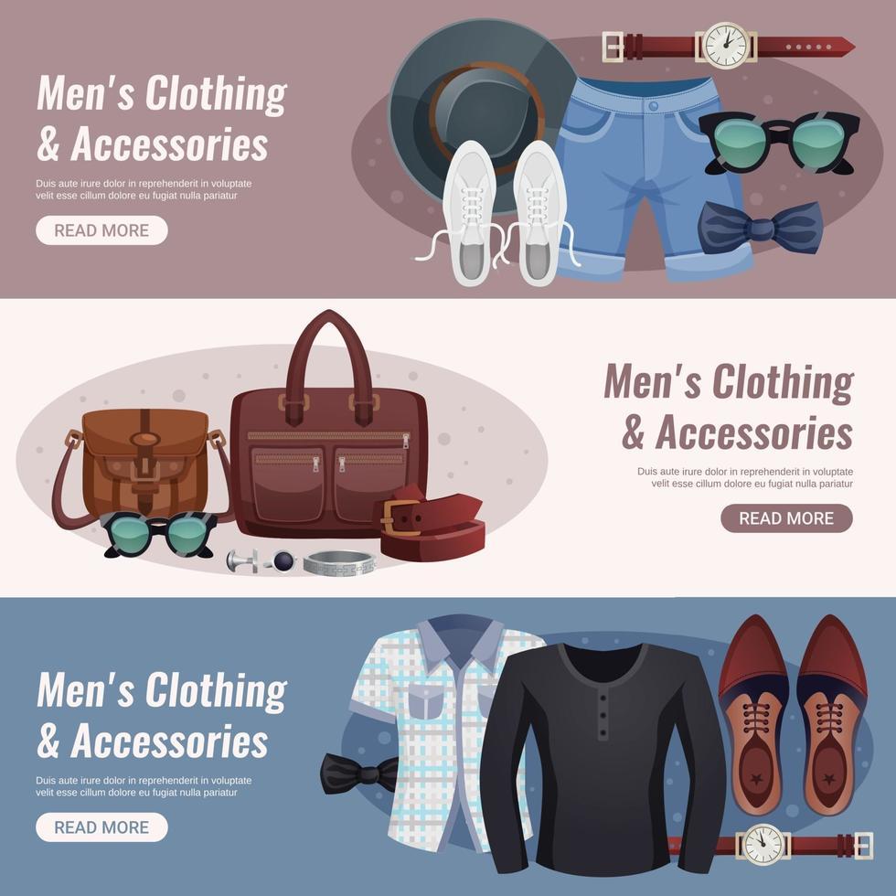 men accessories horizontal banners vector