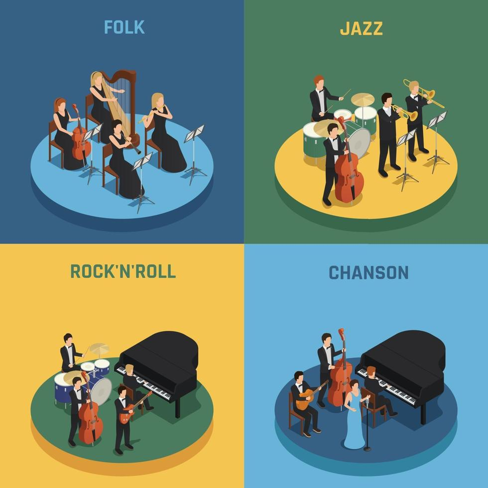 orchestra isometric people 2x2 vector
