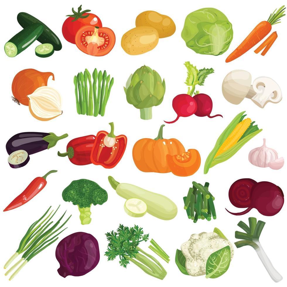 vegetables cartoon set vector