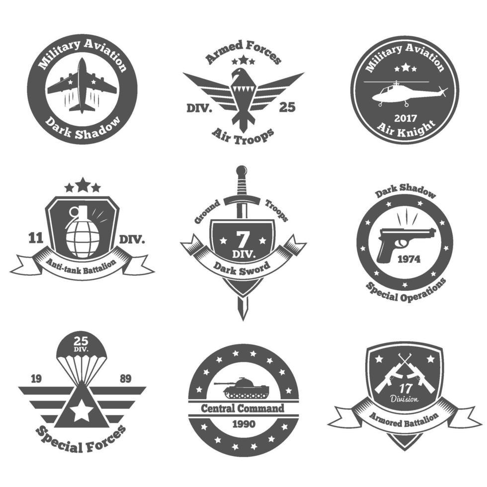 military emblems set vector