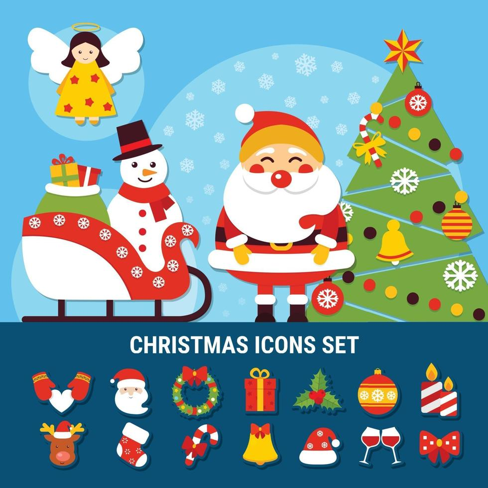 Christmas flat vector illustration
