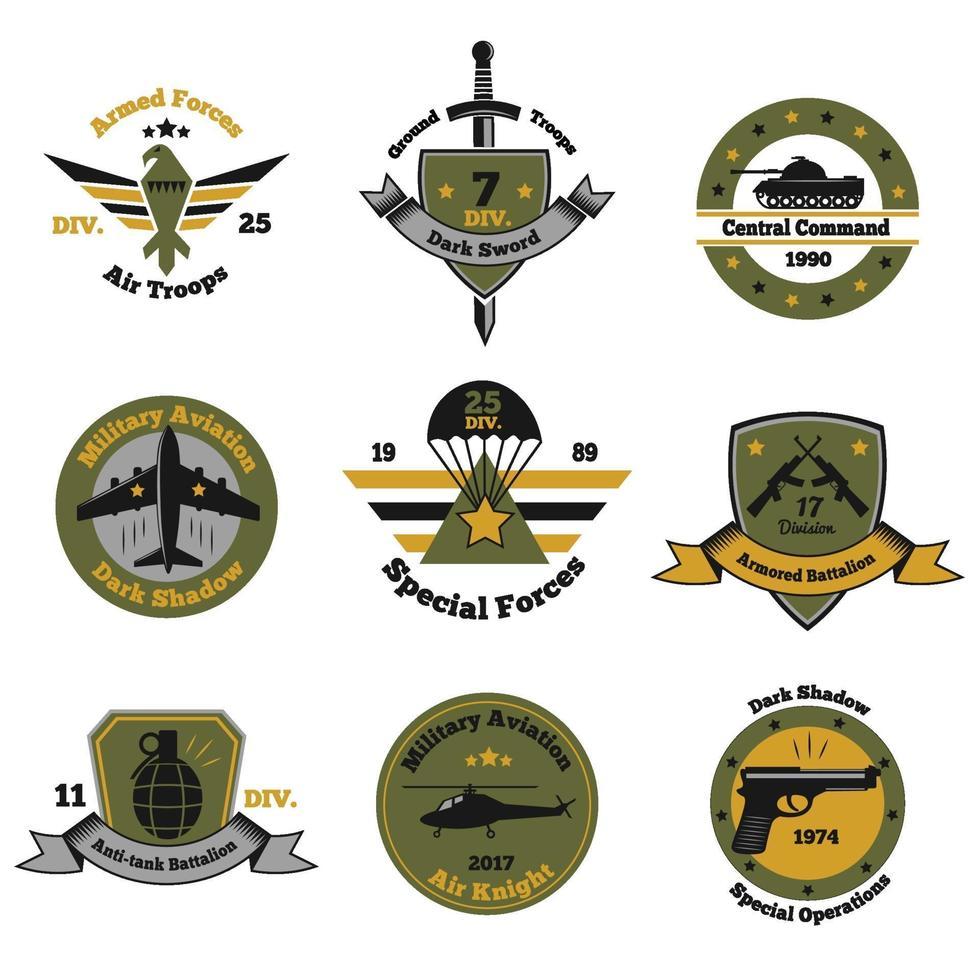 military emblems color set vector