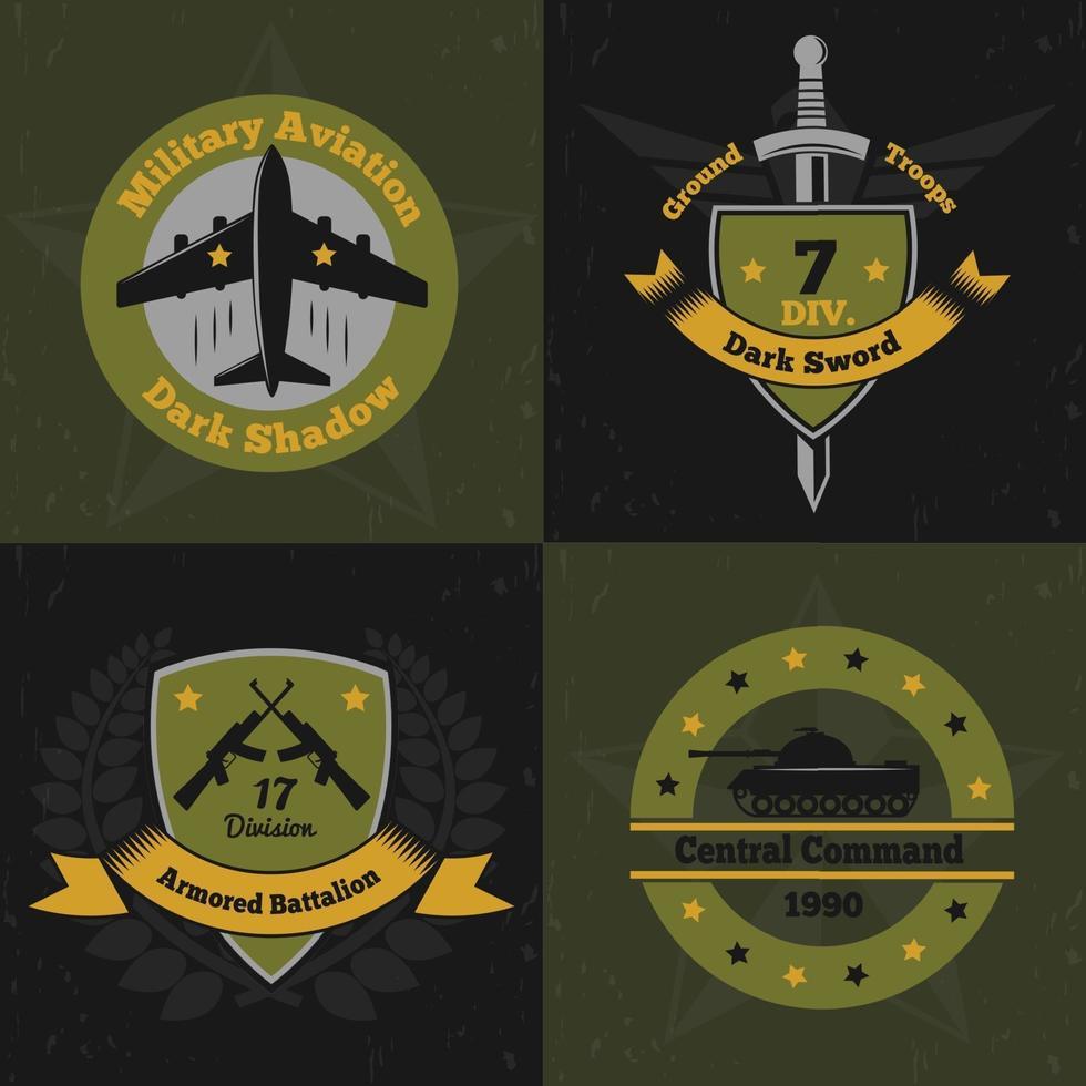 military emblems color 2x2 vector